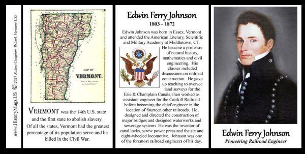 Edwin Ferry Johnson, pioneering railroad engineer biographical history mug tri-panel.