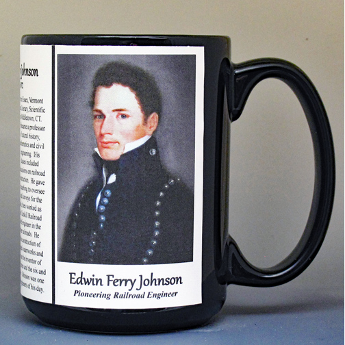 Edwin Ferry Johnson, pioneering railroad engineer biographical history mug.