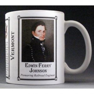 Edwin Ferry Johnson Vermont history mug.