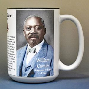 William Carney, Union Army, US Civil War biographical history mug.