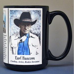 Earl Bascom Pro-Rodeo biographical history mug.