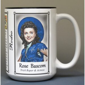 Texas Rose Bascom, Trick Roper and actress biographical history mug.