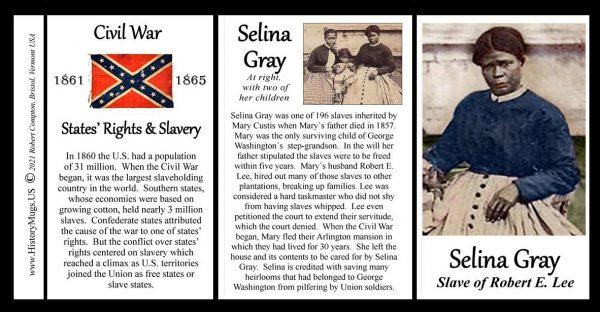 Selina Gray, US Civil War biographical history mug tri-panel.