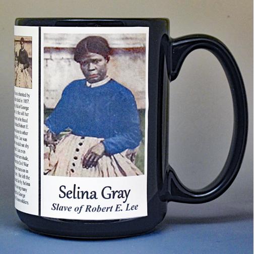 Selina Gray, US Civil War biographical history mug.