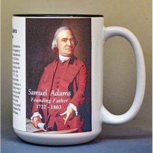 Samuel Adams, Declaration of Independence signatory biographical history mug.