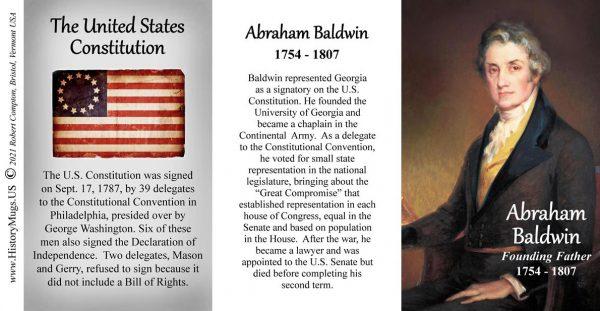 Abraham Baldwin, signatory on the US Constitution biographical history mug tri-panel.