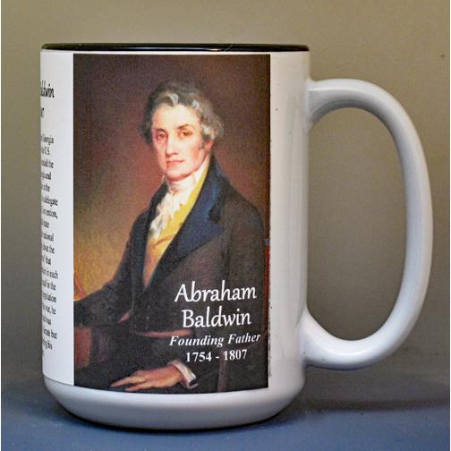 Abraham Baldwin, signatory on the US Constitution biographical history mug.