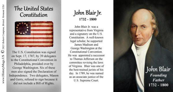 John Blair, US Constitution signatory biographical history mug tri-panel.