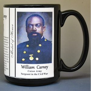 William Carney, Civil War Medal of Honor recipient biographical history mug.