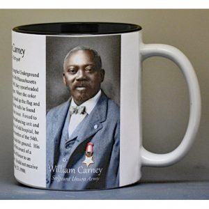 William Carney, Civil War Union soldier, and Medal of Honor recipient history mug.