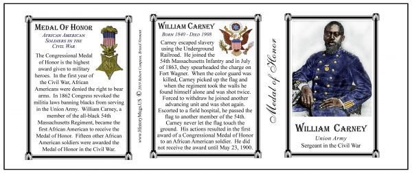 William Carney Civil War Union soldier and Medal of Honor recipient, history mug tri-panel.