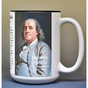 Benjamin Franklin, US Constitution signatory biographical history mug.