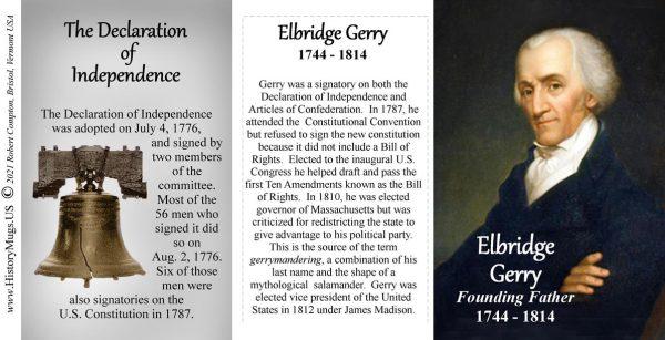 Elbridge Gerry, Declaration of Independence signatory biographical history mug tri-panel.