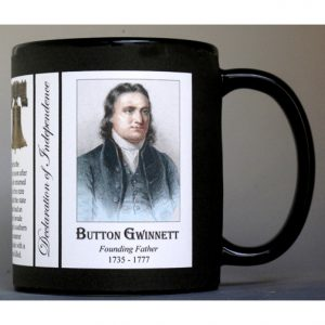 Button Gwinnett Declaration of Independence signatory history mug.