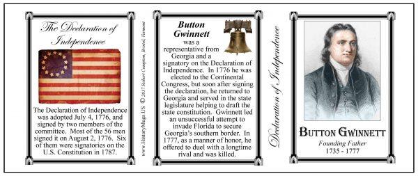 Button Gwinnett Declaration of Independence signatory history mug tri-panel.