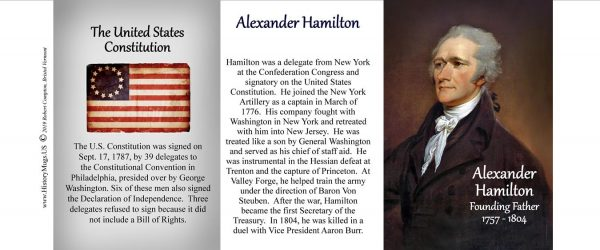 Alexander Hamilton, signatory on the US Constitution biographical history mug tri-panel.