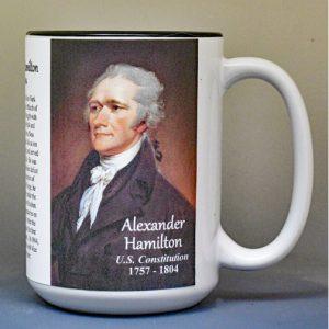 Alexander Hamilton, US Constitution signatory biographical history mug.