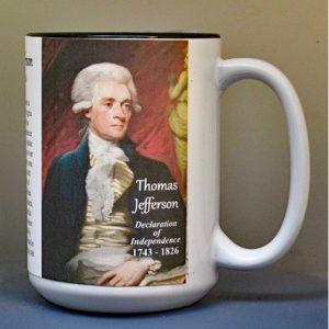 Thomas Jefferson, Declaration of Independence signatory biographical history mug.