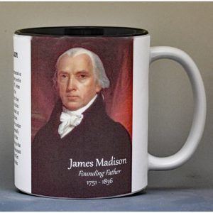 James Madison, signatory on the US Constitution biographical history mug.