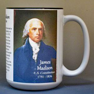 James Madison, US Constitution signatory biographical history mug.