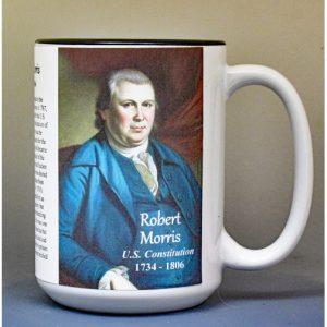 Robert Morris, US Constitution signatory biographical history mug.