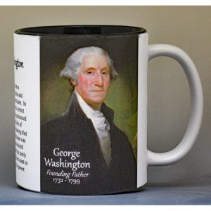 George Washington, signatory on the US Constitution biographical history mug.