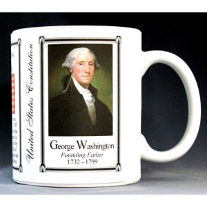 George Washington US Constitution biographical history mug.