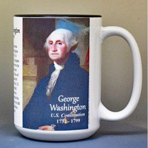 George Washington, US Constitution signatory biographical history mug.