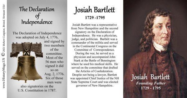 Josiah Bartlett, Declaration of Independence signatory biographical history mug tri-panel.