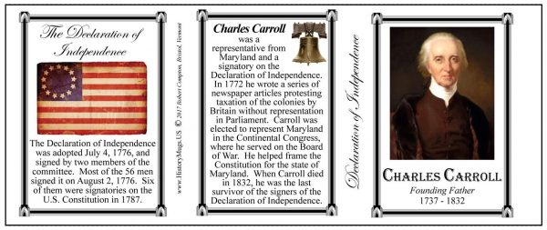 Charles Carroll Declaration of Independence signatory history mug tri-panel.