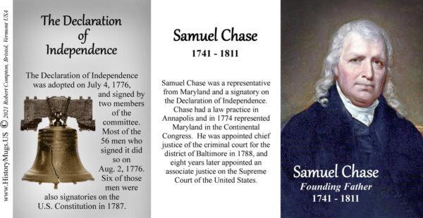 Samuel Chase, Declaration of Independence signatory biographical history mug tri-panel.