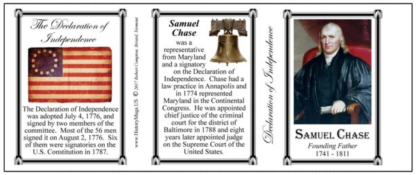 Samuel Chase Declaration of Independence signatory history mug tri-panel.