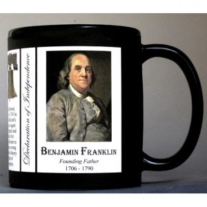 Benjamin Franklin Declaration of Independence signatory history mug.