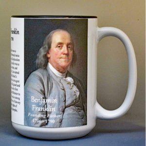Benjamin Franklin, Declaration of Independence signatory biographical history mug.