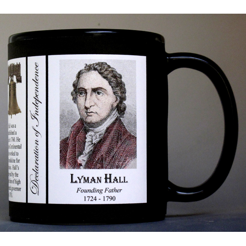 Lyman Hall Declaration of Independence signatory history mug.