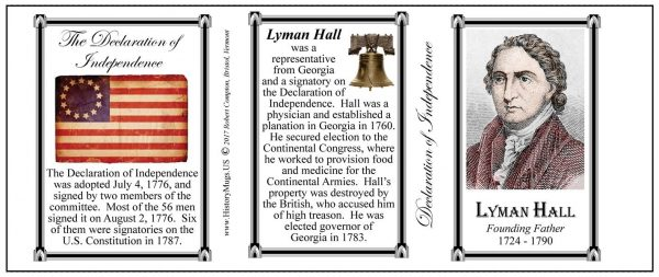 Lyman Hall Declaration of Independence signatory history mug tri-panel.