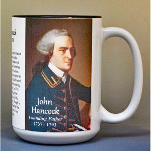 John Hancock, Declaration of Independence signatory biographical history mug.