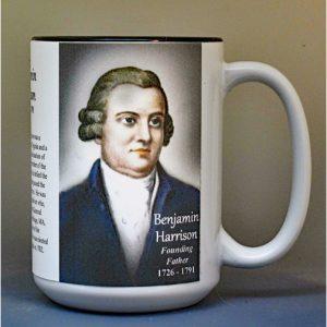 Benjamin Harrison, Declaration of Independence signatory biographical history mug.