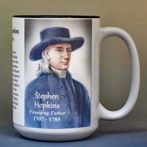 Stephen Hopkins, Declaration of Independence signatory biographical history mug.