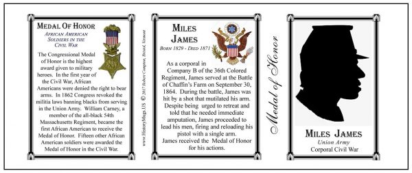 Miles James Civil War Union soldier and Medal of Honor recipient, history mug tri-panel.