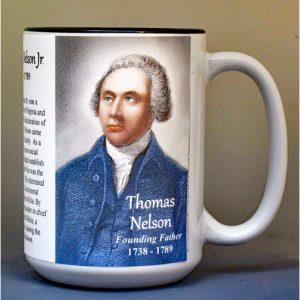 Thomas Nelson Jr, Declaration of Independence signatory biographical history mug.