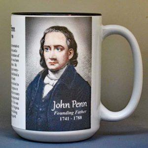 John Penn, Declaration of Independence signatory biographical history mug.