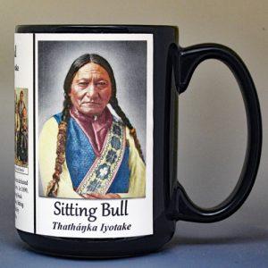 Sitting Bull, Tȟatȟáŋka Íyotake, Native American leader history mug.