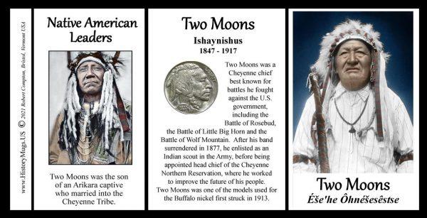 Two Moons, Native American leader biographical history mug tri-panel.