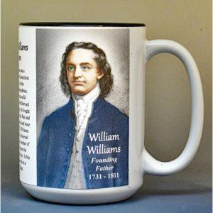 William Williams, Declaration of Independence signatory biographical history mug.