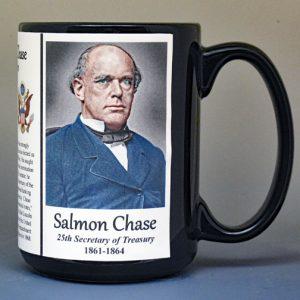 Salmon P. Chase, 25th US Secretary of Treasury biographical history mug.
