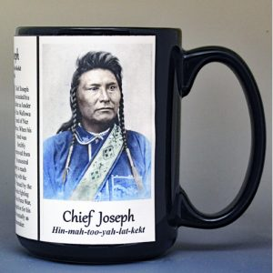 Chief Joseph, Native American biographical history mug.