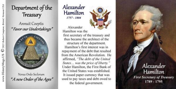 Alexander Hamilton, US Secretary of the Treasury biographical history mug tri-panel.