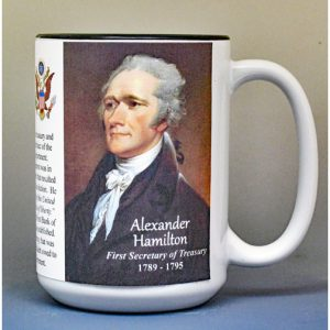 Alexander Hamilton, US Secretary of the Treasury biographical history mug.