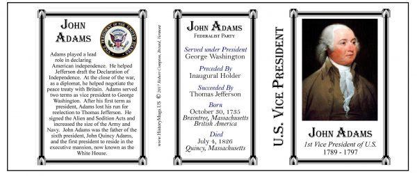 John Adams US Vice President history mug tri-panel.